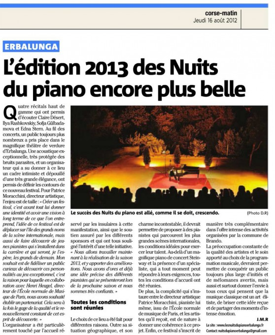 Corse-Matin article de cloture du 16 août 2012