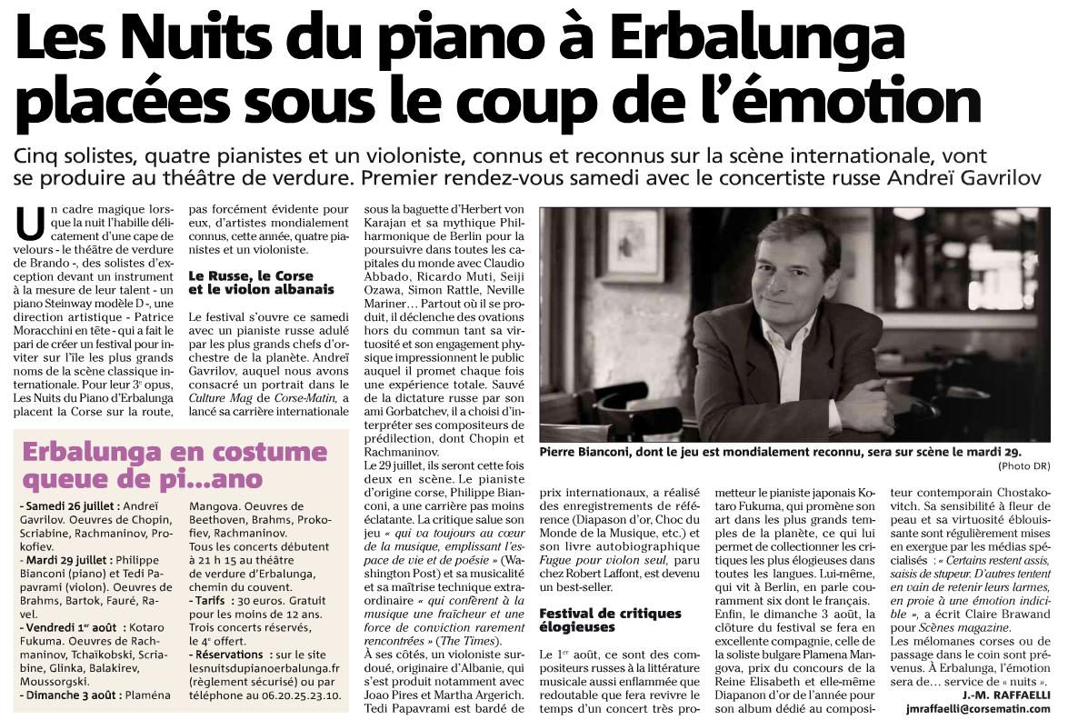 Corse-Matin du 25 juillet 2014